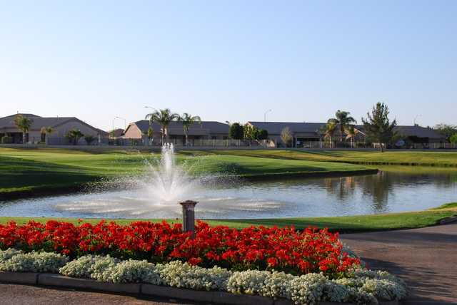 A view over a pond at Augusta Ranch Golf Club.