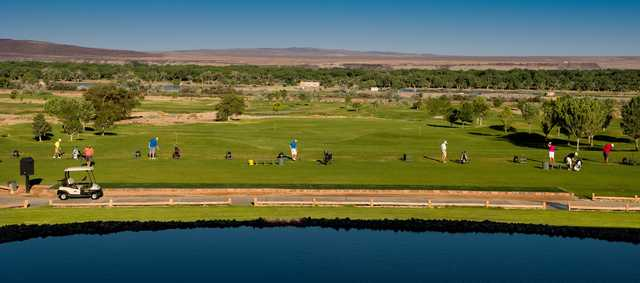 A view of the driving range at Isleta Eagle Golf Course.