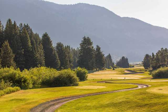 A view of a tee at Big Sky Resort Golf Course.