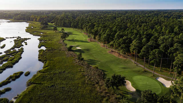 Aerial view of the 16th hole from the West Course at The Pearl Golf Links