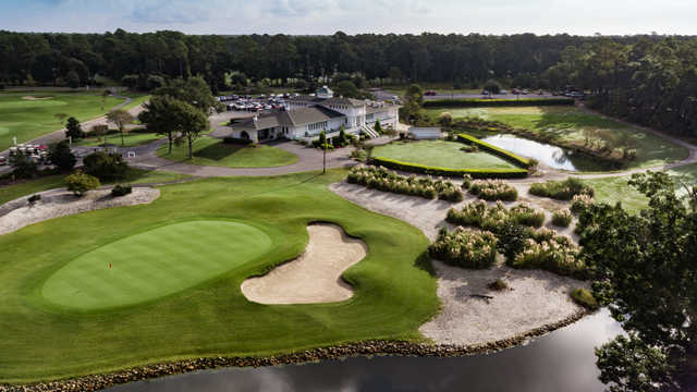 Aerial view of the 18th hole from the West Course at The Pearl Golf Links