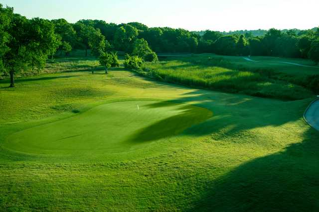 A view of a green at Pecan Valley Golf Course.