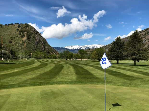 A view from a green at Round Valley Golf Course.