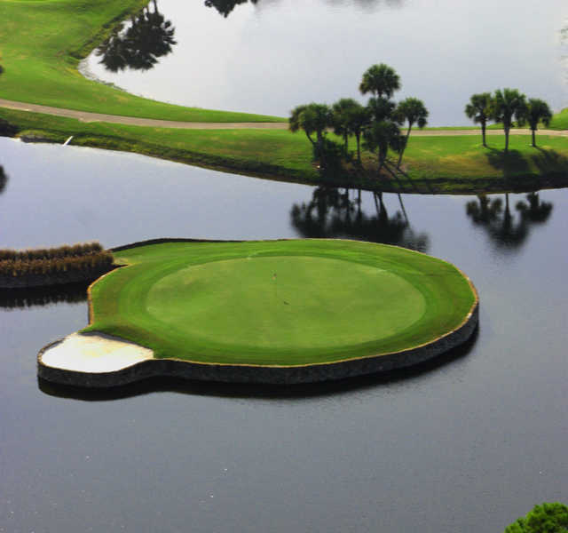 Aerial view of the 12th green from Heathrow Country Club.