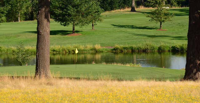 A view of a hole with water coming into play at Stone Creek Golf Club.