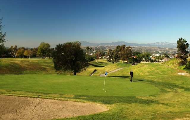 The short, uphill par-3 sixth on the North Course at Royal Vista Golf Club in Walnut, Calif.