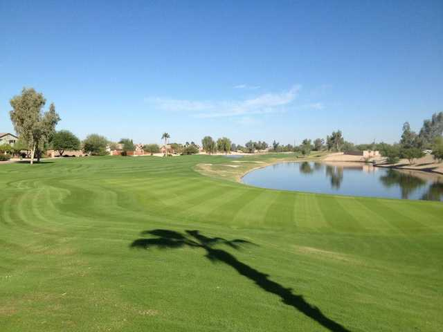 A view of hole #18 at Lone Tree Golf Club.