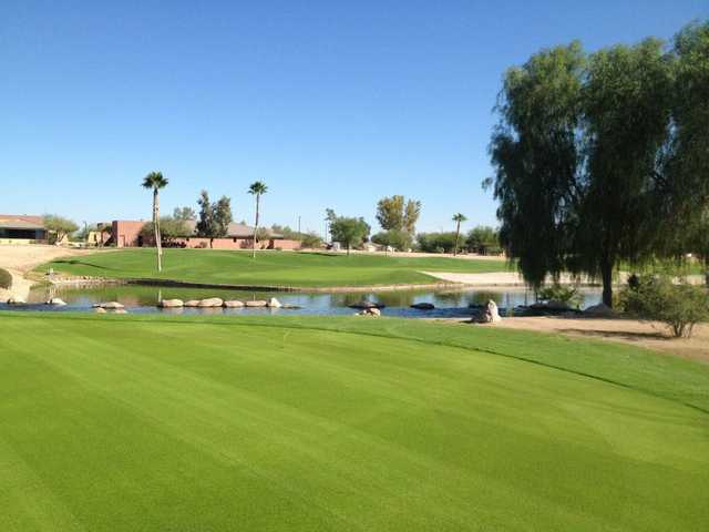 A view of hole #9 and the practice green at Lone Tree Golf Club.