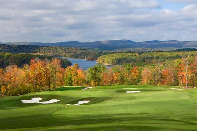 A view of the 13th green at the Lodestone Golf Club with the Deep Creek Lake in background