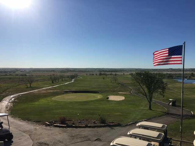 A morning day view of a green at Eagle Ridge Golf Club.