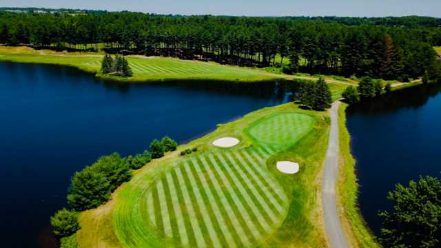 Aerial view of the 10th hole at Pequabuck Golf Club.