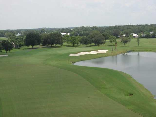 A view of fairway and green #4 at The Club at River Wilderness.