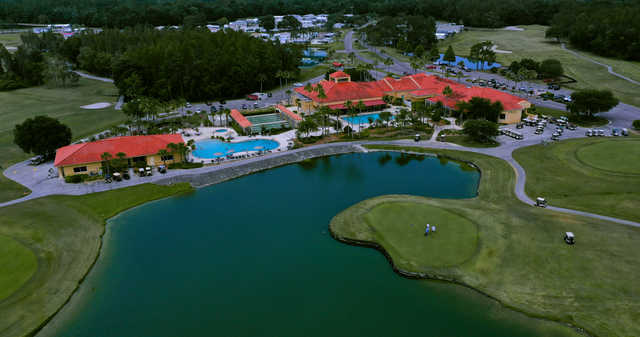Aerial view of the clubhouse at Big Cypress Golf & Country Club.