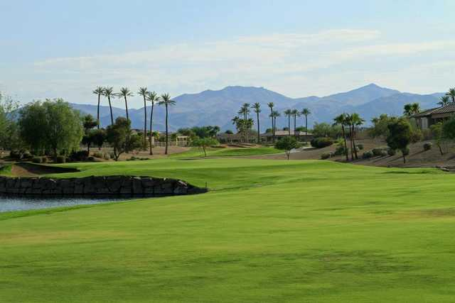 A view of fairway #18 at Cimarron Golf Club