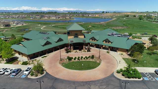 Aerial view of the clubhouse at Todd Creek Golf Club