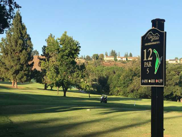 A view from tee #12 sign at Anaheim Hills Country Club.