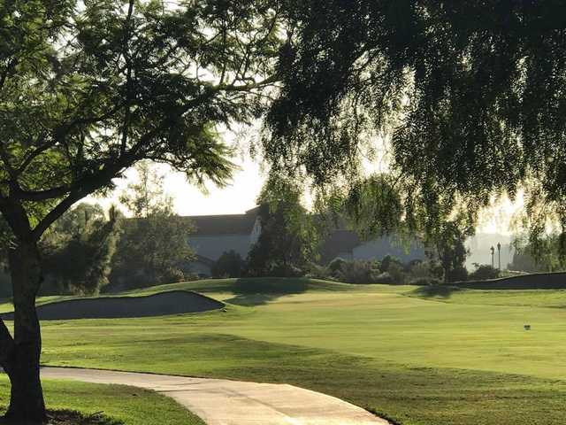 A view of hole #18 at Anaheim Hills Country Club.