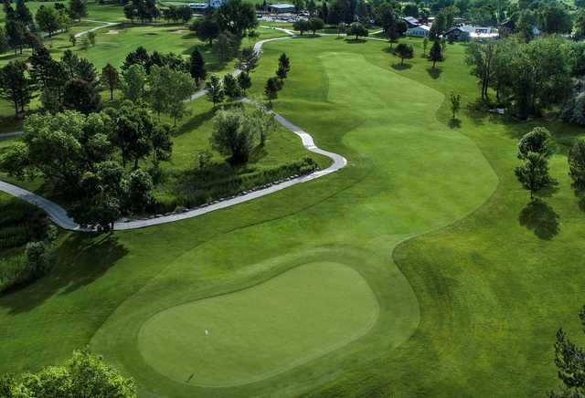 Aerial view of the 1st green at Raccoon Creek Golf Course.
