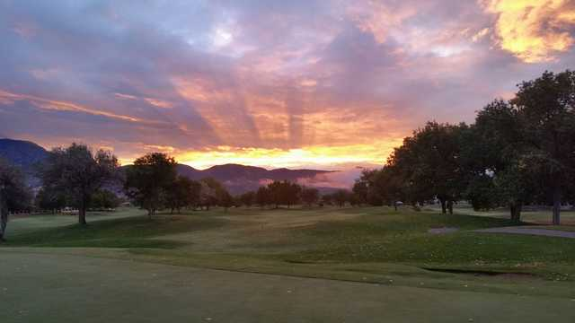 A sunrise view of fairway #8 at Acoma Course from Tanoan Country Club.