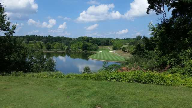 View of the 8th green from the Lakes course at Mystic Creek Golf Club