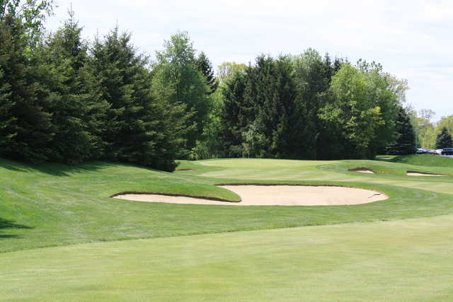 A view of the 9th green at Front 9 from Hawk Hollow Championship Golf Course.