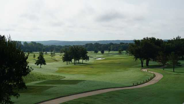 A view of a tee at WinStar Golf Course.