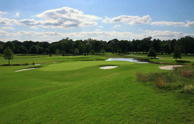 A view of green #12 from tee #13 at Pecan Hollow Golf Course (Eric Dorsey/GreenMambaGraphics).