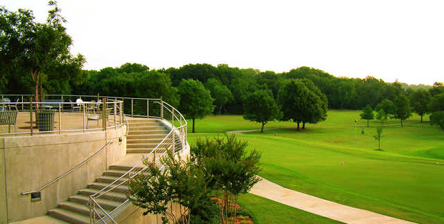 A view of the practice area at Pecan Hollow Golf Course.