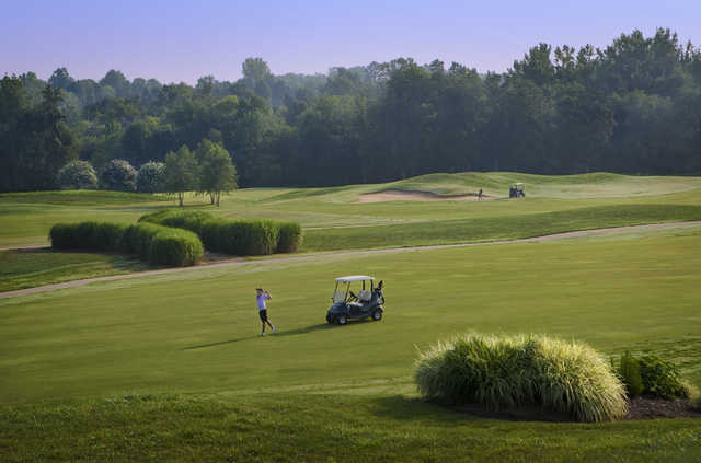 A view of a fairway from Rocky River Golf Club At Concord.