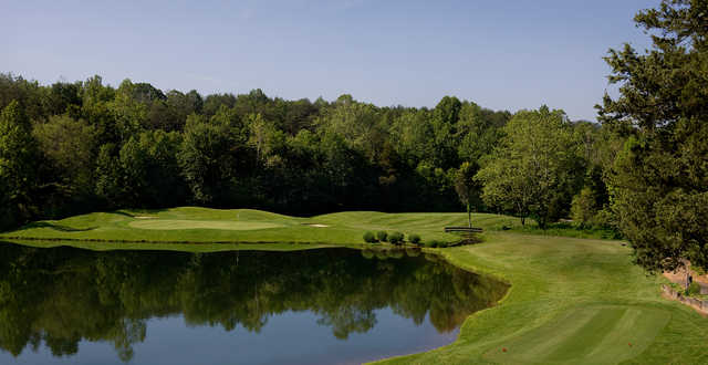 A view of a green with water coming into play at Stoney Creek Monocan from Wintergreen Resort.