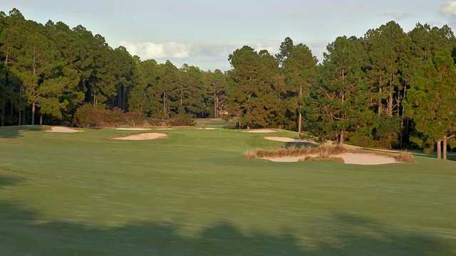 A view of a well protected hole from Country Club of Whispering Pines.