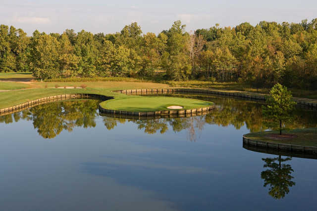 A view of hole #13 surrounded by water at Renditions Golf Course.