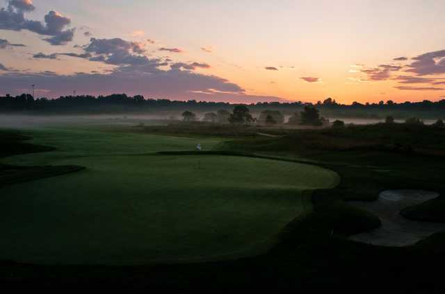 A sunset view of one of the three British Open replica holes at Renditions Golf Course.