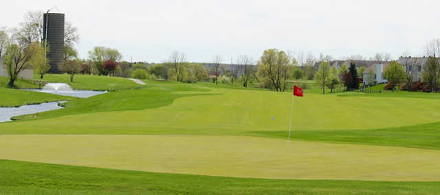 A fresh spring day view of a green at Broken Arrow Golf Club.