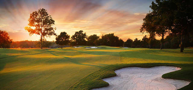 A sunset view of a hole at Crooked Creek Club.