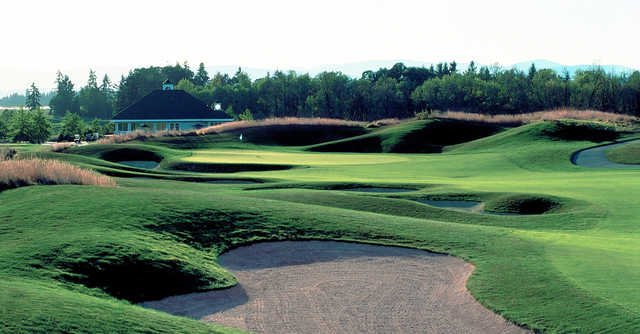 A view of a hole surrounded by bunkers at Pumpkin Ridge Golf Club.