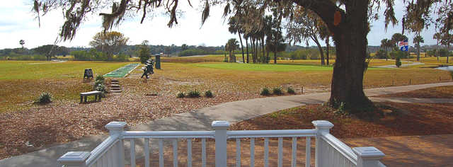 A view of the practice area at Windy Harbor Golf Club.
