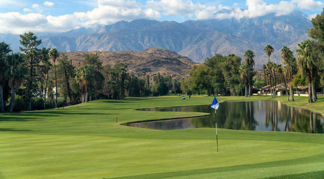 A view of a hole at Cathedral Canyon Golf Club.