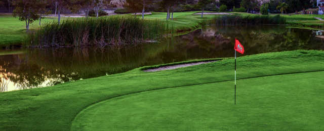 A view of a green with water coming into play at Chula Vista Golf Course.