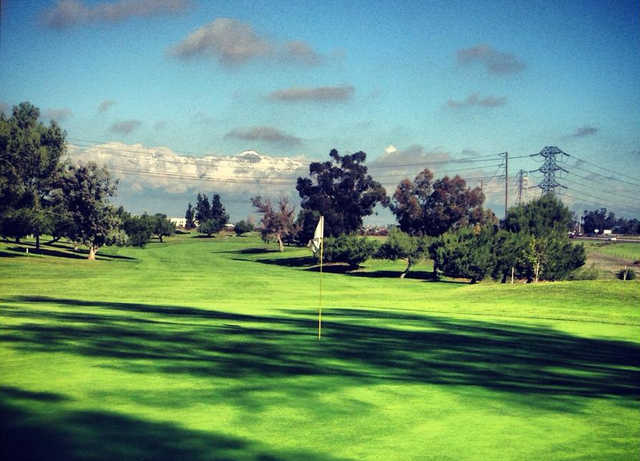 A view of hole #5 at Chino Creek from El Prado Golf Courses.