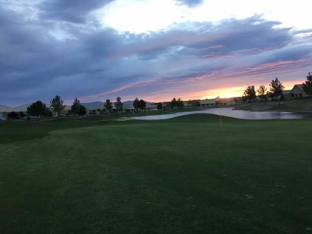A sunset view of a hole at Ashwood Golf Club.