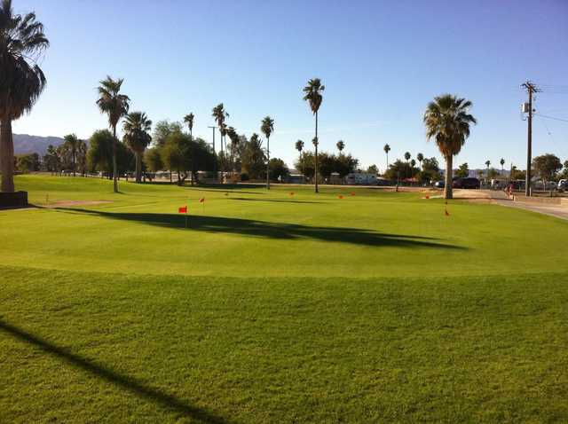 A view of the practice putting green at Rivers Edge Golf Course.