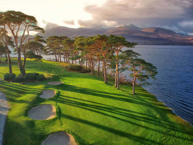Aerial view of the 18th hole from the Mahony's Point at Killarney Golf and Fishing Club