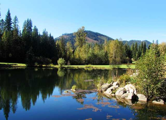 View of the 7th hole and pond at Priest Lake Golf Club.
