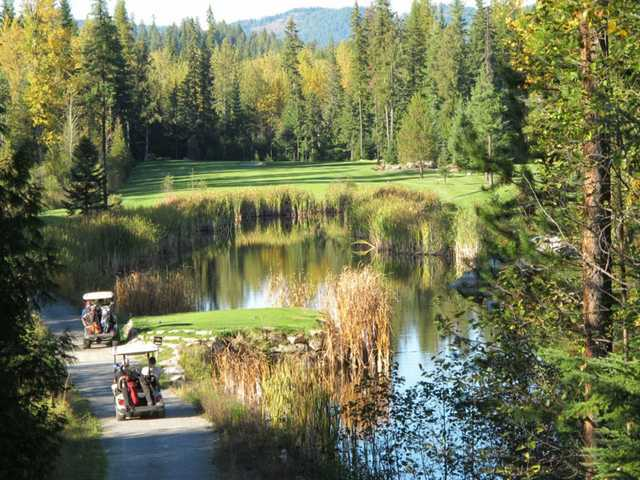 View of the 13th tee box at Priest Lake Golf Club.