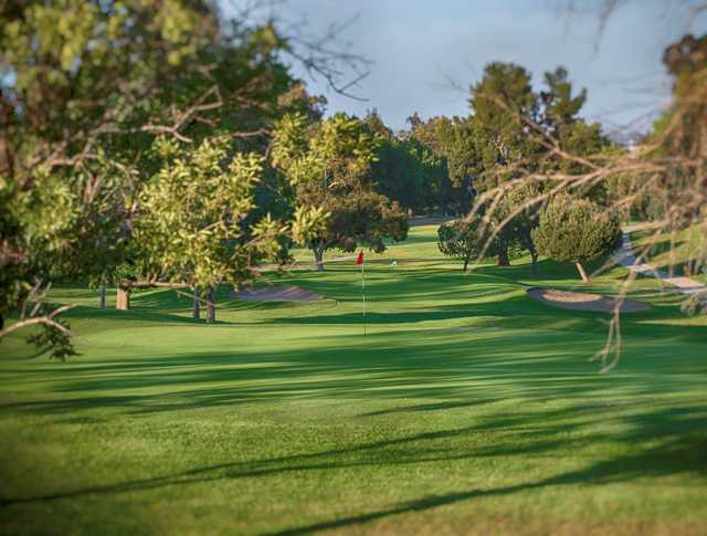 A view of two holes at Los Serranos Golf & Country Club.