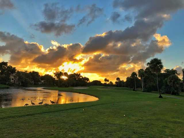 A sunsetv view from Palm-Aire Country Club.