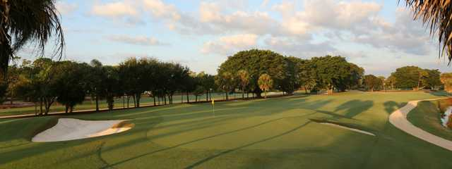 A view of a well protected hole at Tequesta Country Club.
