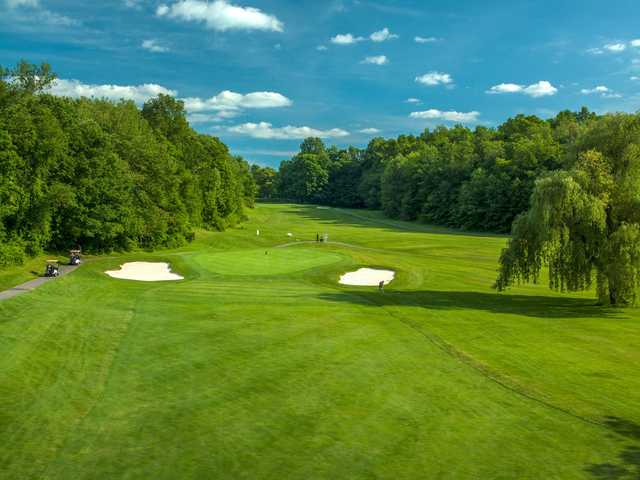 A sunny day view of a hole at Putnam County Golf Course.