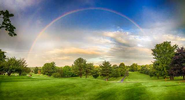 A view of a tee at Blue Hill Golf Course.
